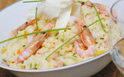 Risotto de pâtes aux crevettes et aux herbes